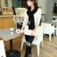 ผ้าพันคอไหมพรม ผ้า cashmere scarf size 180x30 cm - สี Black thumbnail 8