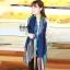 ผ้าพันคอลายทาง Painting Line สีน้ำเงิน - ผ้า Cotton twill - size 180 x 90 cm thumbnail 6