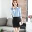 เสื้อเชิ้ตทำงานผู้หญิงแขนยาว สีฟ้า ปกสีขาว เป็นชุดยูนิฟอร์มได้ thumbnail 11