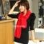 ผ้าพันคอไหมพรม ผ้า cashmere scarf size 180x30 cm - สี red thumbnail 5