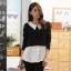 เสื้อยืดเย็บหลอก สีชมพู/สีขาว (XL,2XL,3XL)