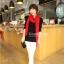 ผ้าพันคอไหมพรม ผ้า cashmere scarf size 180x30 cm - สี red thumbnail 7