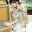 ผ้าพันคอแฟชั่นลายดอกไม้ Blossom Bloom : White color ผ้า Viscose - size 180x90 cm thumbnail 4