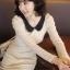 """""""พร้อมส่ง""""เสื้อผ้าแฟชั่นสไตล์เกาหลีราคาถูก Brand Chuvivi เดรสลูกไม้สีเบจ แขนยาว คอปกสีดำ มีซับใน size M thumbnail 1"""
