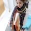 ผ้าพันคอลายทาง Strip Zigzag scarf : ผ้าพันคอ Viscose - size 160x75 cm - สีน้ำเงิน thumbnail 1