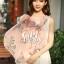 ผ้าพันคอลายโบว์ : Bow print scarf สีชมพู - ผ้าชีฟอง 160 x 45 cm thumbnail 2