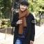 ผ้าพันคอไหมพรมถัก Knit Scarf - size 160x30 cm - สี Brown thumbnail 2