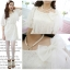 """""""พร้อมส่ง""""เสื้อผ้าแฟชั่นสไตล์เกาหลีราคาถูก Brand PINKDOLL เดรสสีขาวผ้าลูกไม้ทั้งชุด มีซับใน ติดโบว์ที่หน้าอก สวยค่ะ thumbnail 1"""