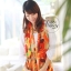 ผ้าพันคอแฟชั่น Retro Graphic : สีส้ม ผ้าชีฟอง size 150x50 cm thumbnail 4