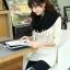 ผ้าพันคอไหมพรม ผ้า cashmere scarf size 180x30 cm - สี Black thumbnail 7