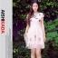 """size M""""พร้อมส่ง""""เสื้อผ้าแฟชั่นสไตล์เกาหลีราคาถูก Brand Aishikada เดรสลูกไม้สีชมพู แต่งชาย ทรงปล่อย ตัวใหญ่ แขนมีซับใน -size M thumbnail 1"""