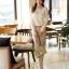 เสื้อเชิ้ตแฟชั่นทำงานผู้หญิงแขนยาวลูกไม้สีขาว ปกสีชมพูโอรส thumbnail 13