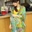 ผ้าพันคอลายดอกไม้ Blossom Bloom สี Blue Green ผ้า Viscose size 180x90 cm thumbnail 5