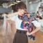 ผ้าพันคอแฟชั่น Retro Graphic : สีน้ำเงิน ผ้าชีฟอง size 150x50 cm thumbnail 5