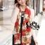 ผ้าพันคอแฟชั่นลายโซ่ Chiffon Chain : สีแดง : ผ้าพันคอ Silk Chiffon 160x60 cm thumbnail 2