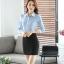 เสื้อเชิ้ตทำงานผู้หญิงแขนยาว สีฟ้า ปกสีขาว เป็นชุดยูนิฟอร์มได้ thumbnail 9