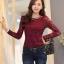 เสื้อทำงานผู้หญิงแขนยาวลูกไม้สีแดง คอประดับมุก สวยหรู thumbnail 1