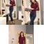 เสื้อทำงานผู้หญิงแขนยาวลูกไม้สีแดง คอประดับมุก สวยหรู thumbnail 9