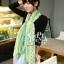 ผ้าพันคอลายจุด ขอบระบายลูกไม้ สีเขียว ผ้าพันคอ viscose - size 160x80 cm thumbnail 2