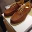 รองเท้าผู้ชาย | รองเท้าแฟชั่นชาย Tan Boat Shoes หนังชามัวร์ (หนังลูกวัวแท้) thumbnail 1