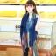 ผ้าพันคอลายทาง Painting Line สีน้ำเงิน - ผ้า Cotton twill - size 180 x 90 cm thumbnail 7