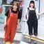 ชุดเอี๊ยมยีนส์ผ้าฝ้ายไซส์ใหญ่ สีดำ/สีแดงสนิม (XL,2XL,3XL) Ai-3069