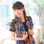 ผ้าพันคอแฟชั่น Retro Graphic : สีน้ำเงิน ผ้าชีฟอง size 150x50 cm thumbnail 3