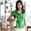 เสื้อทำงานผู้หญิงแขนสั้น ผ้าชีฟอง สีเขียว thumbnail 5