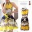 """""""พร้อมส่ง""""เสื้อผ้าแฟชั่นสไตล์เกาหลีราคาถูก เดรสสีเหลืองลายดอก อัดพลีตทั้งตัว แขนกุด มีผ้าผูกเอว มีซับใน thumbnail 1"""