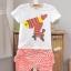 ชุดเสื้อยืดสกรีนลายม้าลาย + กางเกง (สีส้ม ผ้าดีค่ะ) thumbnail 11