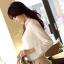 เสื้อเชิ้ตแฟชั่นทำงานผู้หญิงแขนยาวลูกไม้สีขาว ปกสีชมพูโอรส thumbnail 7