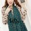 ผ้าพันคอแฟชั่นลายจุด Polka Dot : สี dark green - ผ้าพันคอ Silk Chiffon 160 x 45 cm thumbnail 2