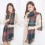 ผ้าพันคอ ผ้าคลุมพัชมีนา Pashmina scarf ลายตาราง size 200x60 cm - สี Dark Green thumbnail 3