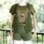 ส่ง:งานจีนชุด4ชิ้นโทนสีเขียวทหารเก๋ๆ/เสื้อ+กั๊กknit+เข็มขัด+กางเกง thumbnail 1