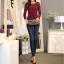 เสื้อทำงานผู้หญิงแขนยาวลูกไม้สีแดง คอประดับมุก สวยหรู thumbnail 2