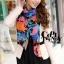 ผ้าพันคอแฟชั่น Retro Graphic : สีน้ำเงิน ผ้าชีฟอง size 150x50 cm thumbnail 10