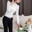 เสื้อทำงานผู้หญิงแขนยาวสีขาว ประดับลูกไม้แฟชั่นสวยหรู thumbnail 6