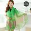 ผ้าพันคอลายทุ่งดอกไม้ Flower Garden : สีเขียว ผ้า Viscose size 180x90 cm thumbnail 1