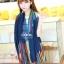 ผ้าพันคอลายทาง Painting Line สีน้ำเงิน - ผ้า Cotton twill - size 180 x 90 cm thumbnail 1