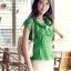 เสื้อทำงานผู้หญิงแขนสั้น ผ้าชีฟอง สีเขียว thumbnail 6