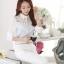 เสื้อทำงานผู้หญิงแขนยาวสีฟ้าขาว ประดับลูกไม้แฟชั่นสวยหรู thumbnail 3