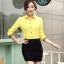 เสื้อเชิ้ตแฟชั่นผู้หญิงแขนยาว สีเหลือง thumbnail 5