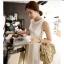 """""""พร้อมส่ง""""เสื้อผ้าแฟชั่นสไตล์เกาหลีราคาถูก Brand Vivi Party set2 ชิ้น Chiffon Slim Dress เดรสยาวผ้าชีฟองสีขาวแขนกุด มีสายผูกที่เอว ซิบด้านหลังลำตัว +ซับในผ้าไหม สายเดี่ยวตัวยาว สายปรับความยาวได้ thumbnail 1"""