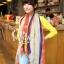 ผ้าพันคอลายลูกน้ำ Paisley Pattern : สีครีมขอบแดง - ผ้าพันคอ Cotton - 180x80 cm thumbnail 1