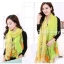 ผ้าพันคอลายดอกคาเนชั่น Carnation : สีเขียวเหลือง ผ้า Viscose size 180x90 cm thumbnail 2