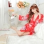 เสื้อคลุมนอนลายกิโมโน สีแดงลายดอกไม้ thumbnail 4