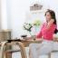 เสื้อเชิ้ตผู้หญิงแขนยาว สีชมพู คลิบขาว thumbnail 4