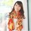 ผ้าพันคอแฟชั่น Retro Graphic : สีส้ม ผ้าชีฟอง size 150x50 cm thumbnail 2