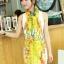 ผ้าพันคอลายดอกไม้ Blossom Bloom : Yellow ผ้า Viscose - size 180x90 cm thumbnail 2