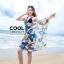 ผ้าคลุมชุดว่ายน้ำ ผ้าคลุมชายหาด ผ้าชายทะเล SH787 : ผ้าชีฟอง size 140x80 cm (มีสายคล้องแขน) สำเนา thumbnail 2